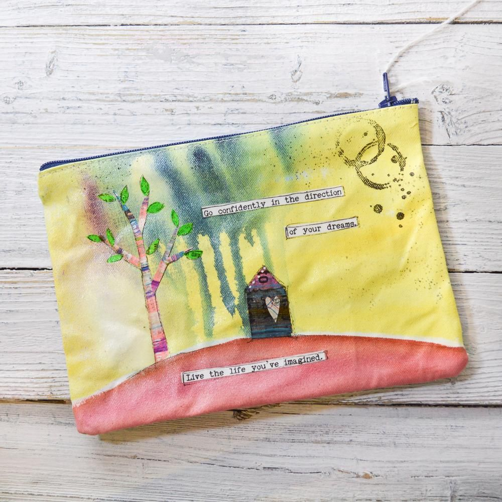 Elephant Pouches, Hand Painted Mixed Media Zipper Pouch