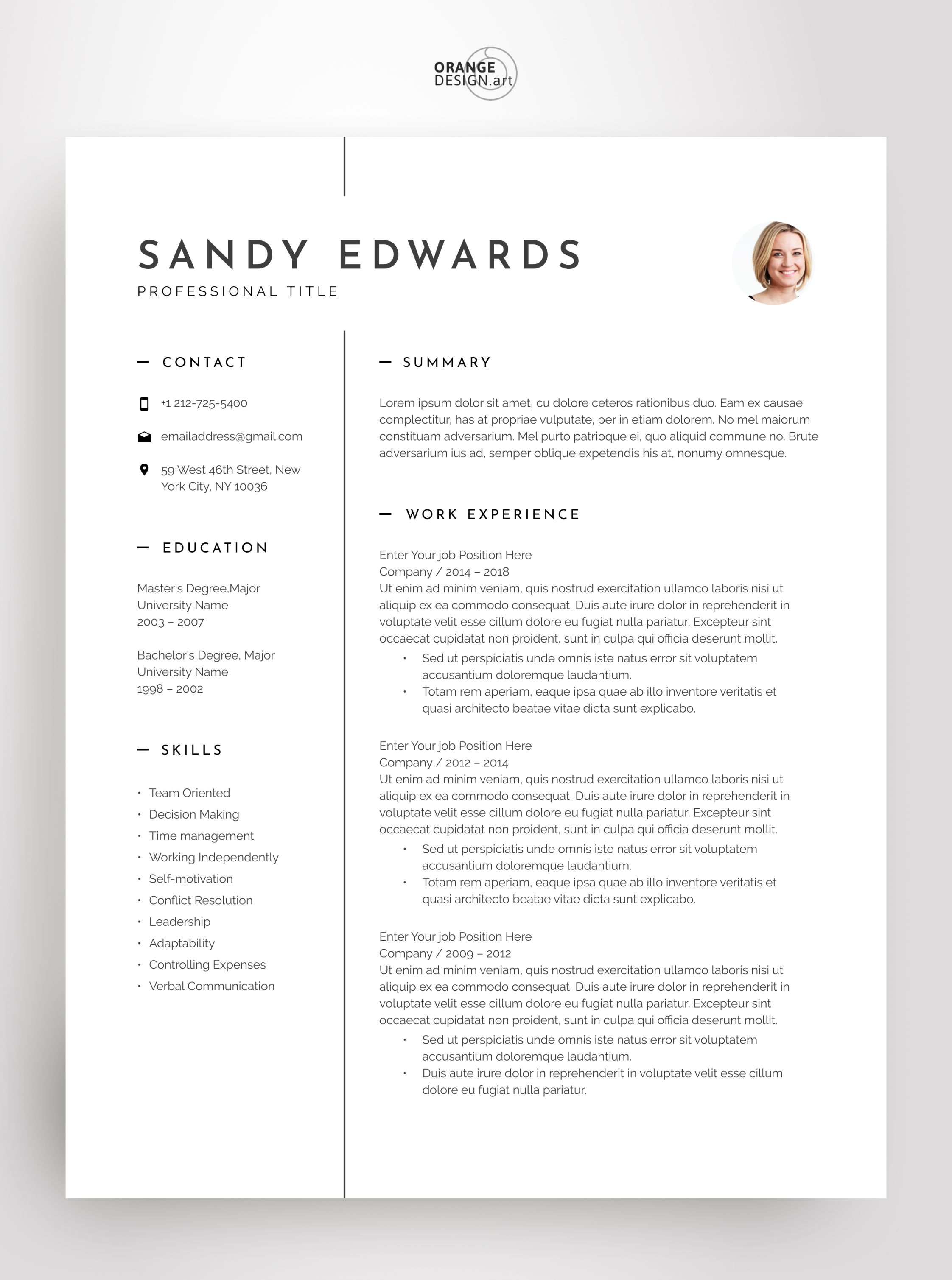 Professional Resume Template Word Executive Resume With ...