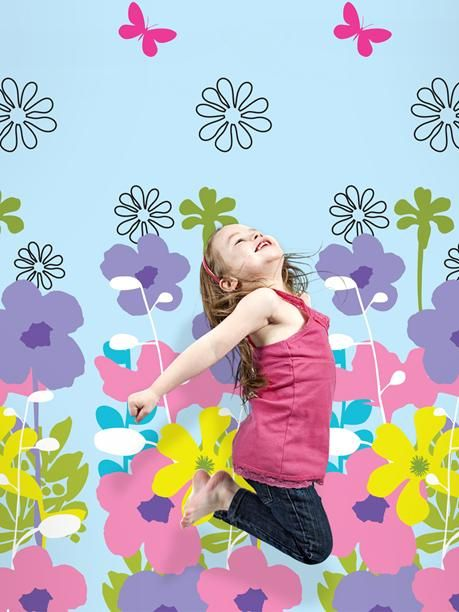 could be such a cute backdrop in the shop for a display! French Bull Shadow Flower Sky Peel and Stick Wallpaper