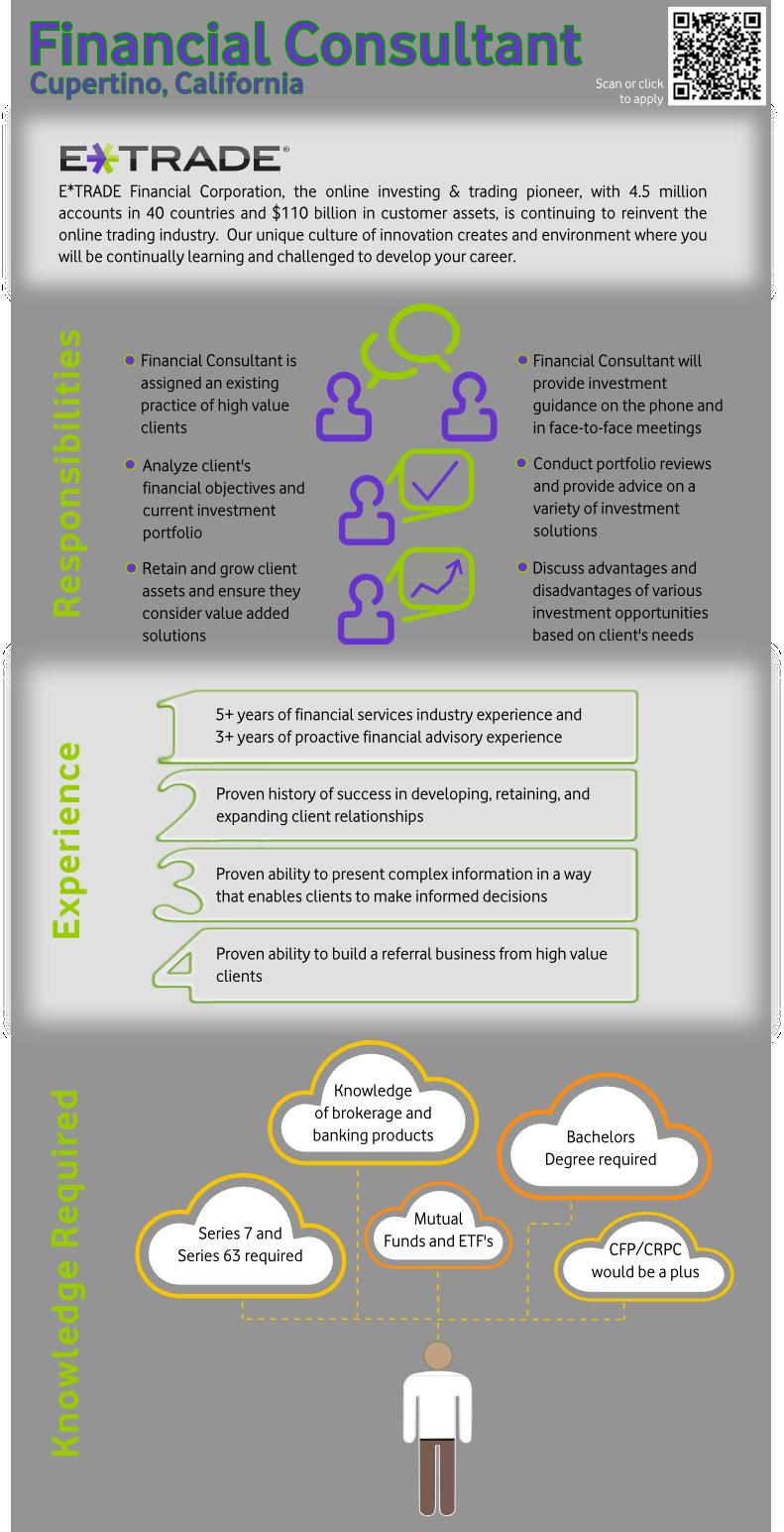 E Trade Financial Consultant Cupertino Ca Office Infographic Job Description To View Full Job Description And Apply Https Job Ads E Trade Job Hunting