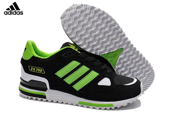 Men s Women s Adidas Originals ZX 750 Shoes Core Black Grass Green Running  White G64002 203fd65ea9