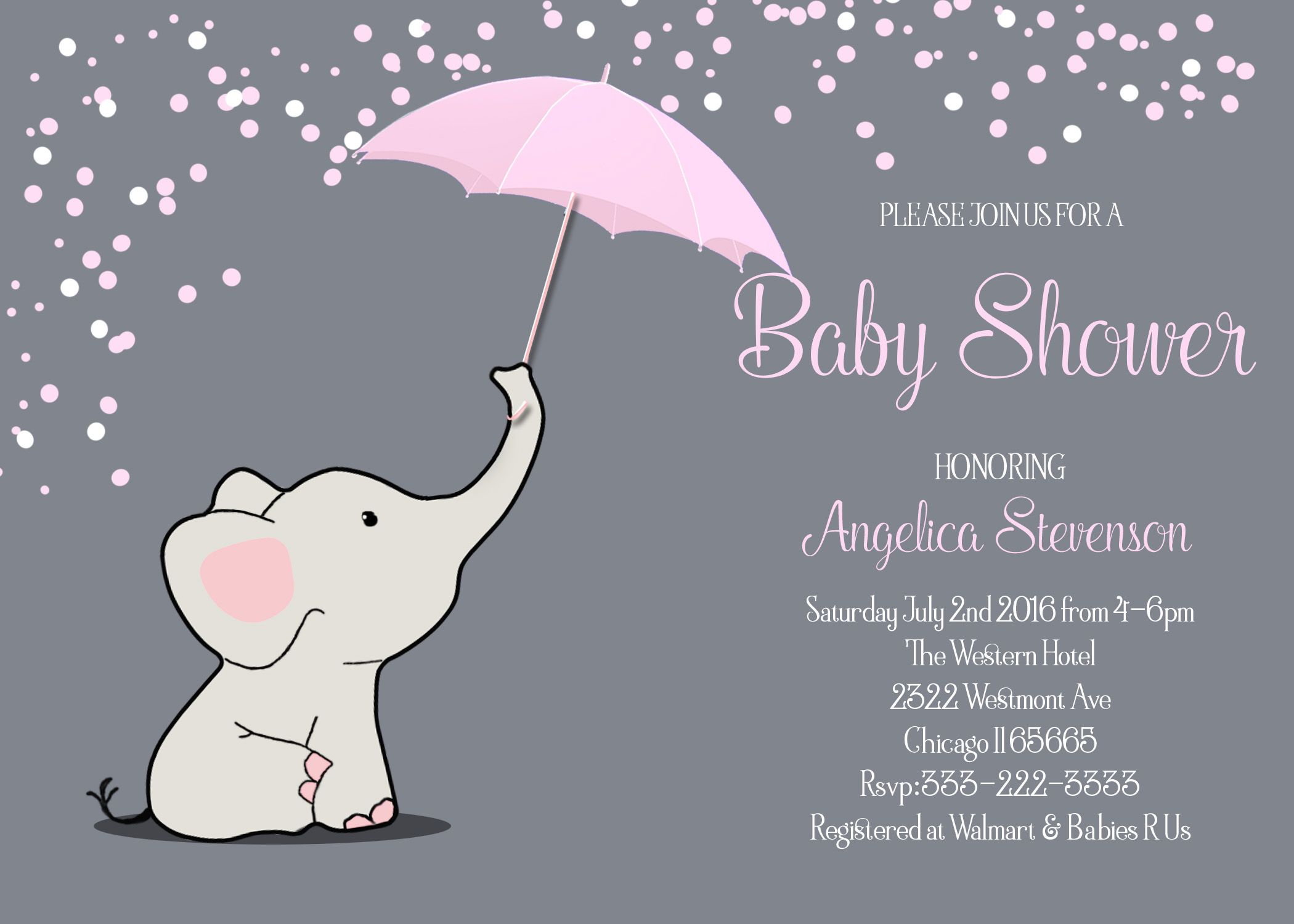 Pink Elephant w Umbrella Baby Shower Printable