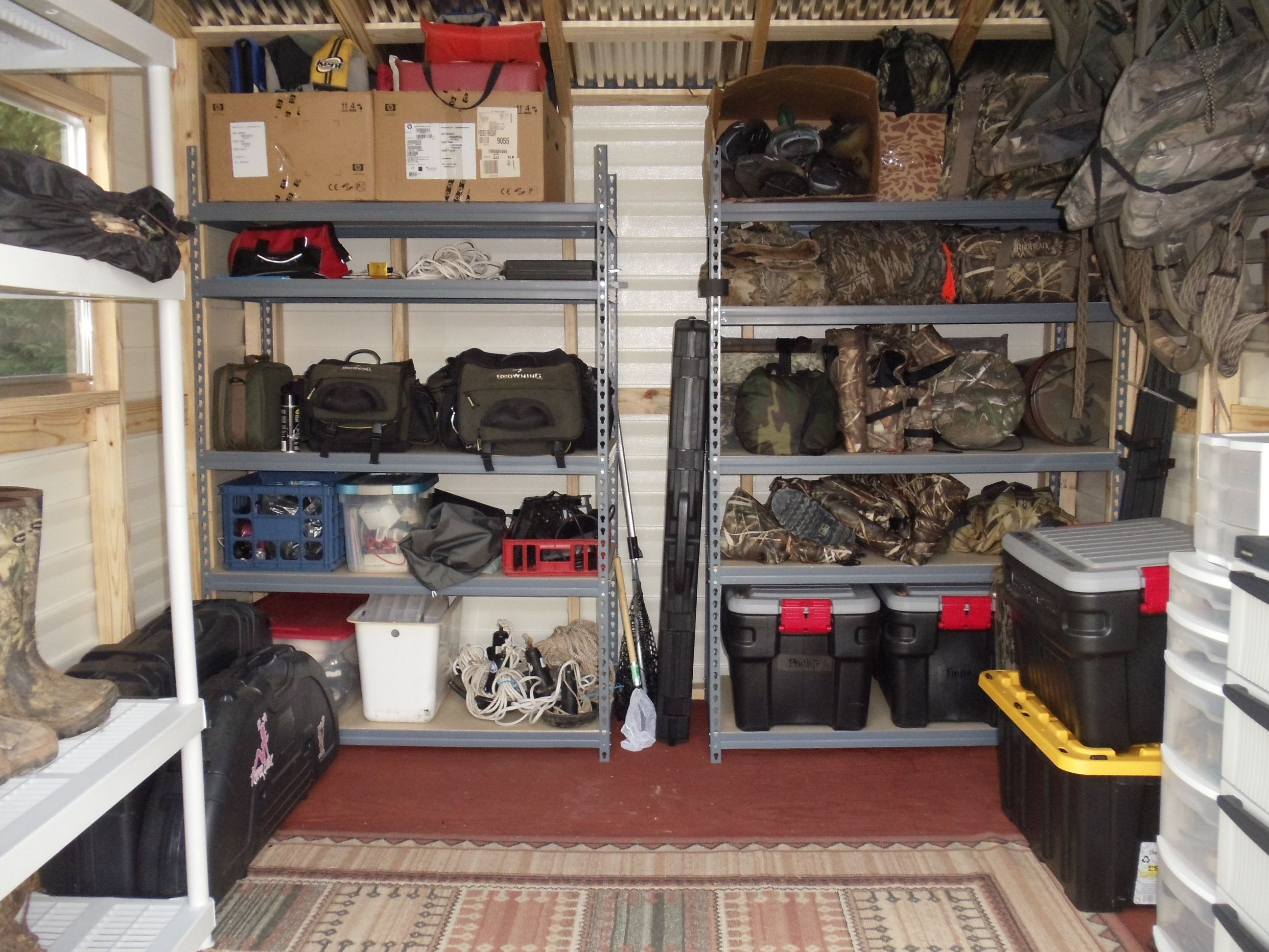 hunting gear organize need to do this with our army stuff garage ideas