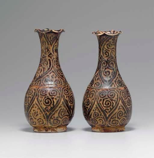 A Pair Of Very Rare Jizhou Guri Style Pear Shaped Vases Southern