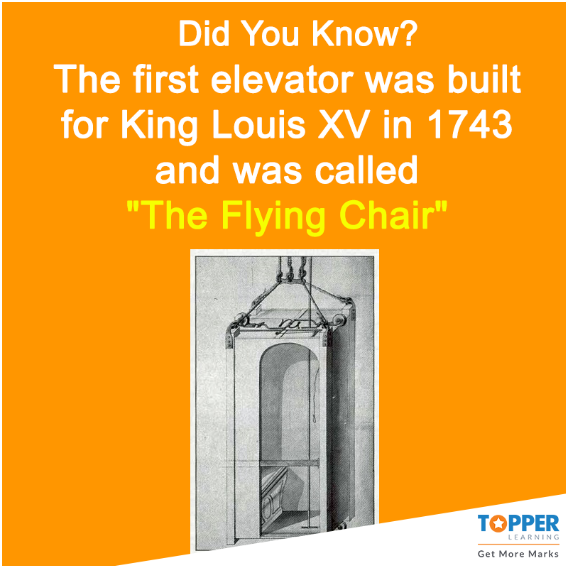 Didyouknow The First Elevator Was Built For King Louis Xv In 1743 And Was Called The Flying Chair History Fact Fun Facts Online Learning Learning