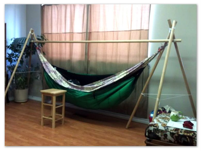 diy hammock chair stand with simple frame and catchy fabric color appealing diy hammock chair stand indoor with wood floor  u2013 erins creative creations bamboo innovations   diy bamboo hammock stand   boho chik      rh   pinterest
