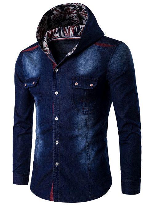 $26.06 Hooded Color Block Spliced Long Sleeve Denim Shirt