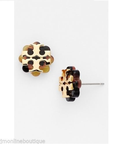 (In light oak/shiny gold) Tory+Burch+Logo+Flower+Stud+Earrings+available+at+