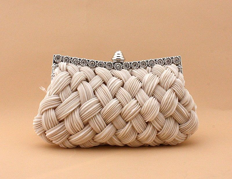 340f21299023 Wedding gift Chicastic Pleated and Braided Rhinestone studded Wedding  Evening Bridal Bridesmaid Clutch Purse Bag - Beige