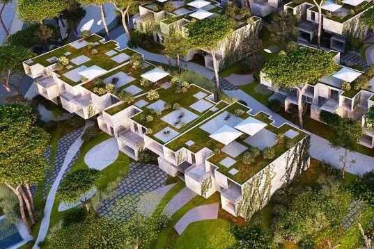 Spectacular Green Roofed Modular Tangier Bay Housing