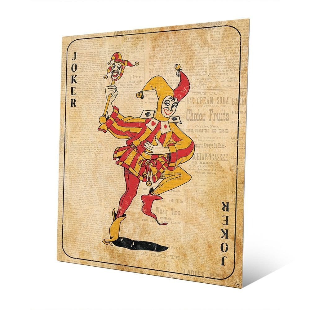 Vintage Joker Playing Card Wall Art Print on Metal   Products ...