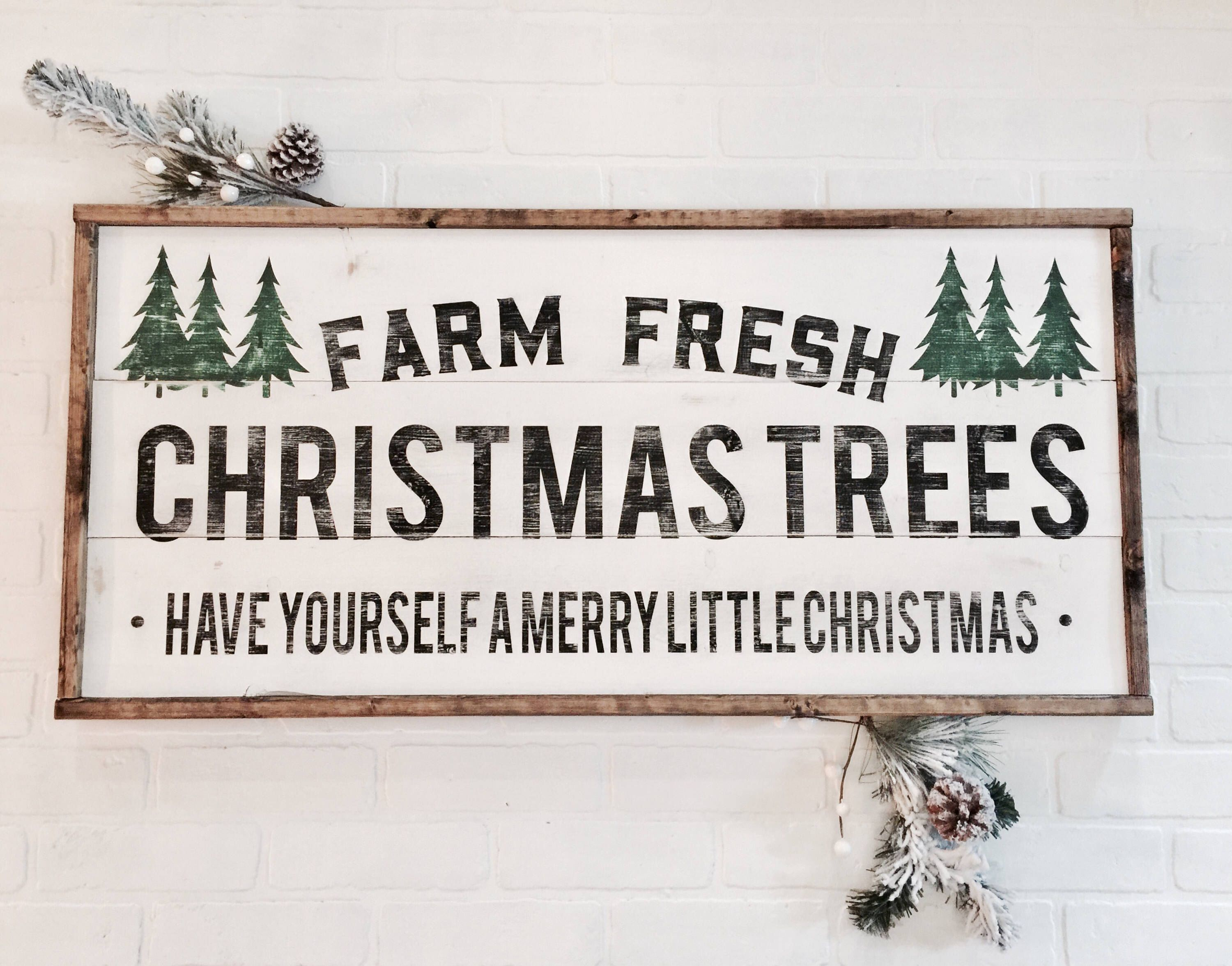 Farm fresh Christmas trees Wood Sign by 5thandGraceCo on