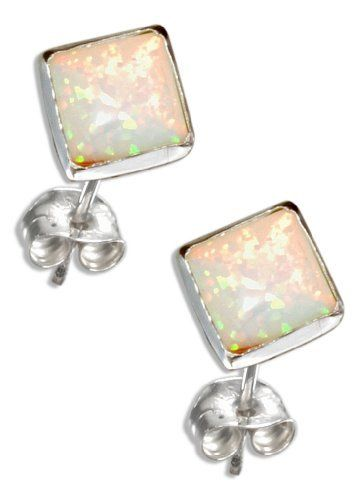 Sterling Silver Square White Lab Opal Post Earrings. 100Silver. $11.40