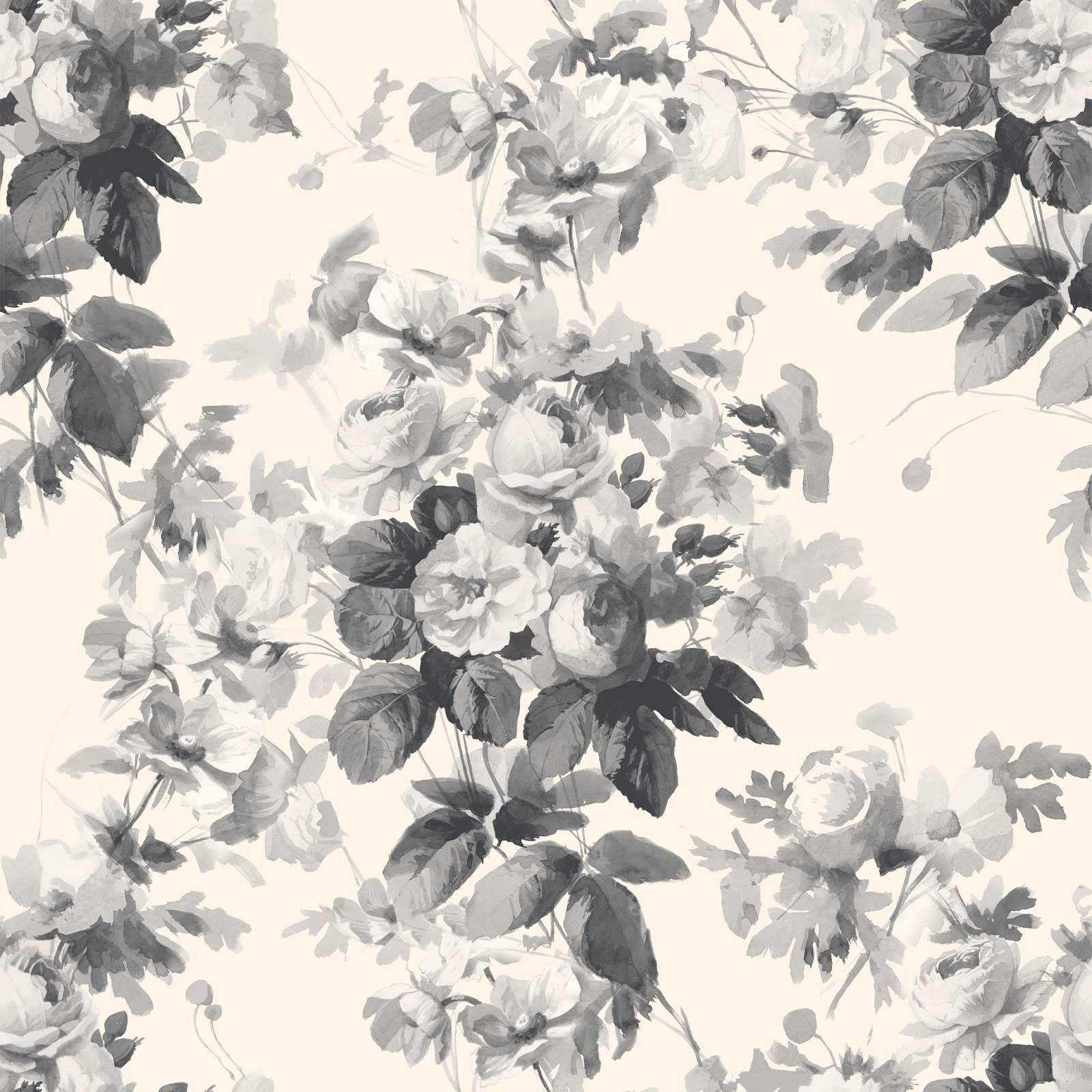 LONDON ROSE Wallpaper Smoke Grey Wallpaper HOUSE OF
