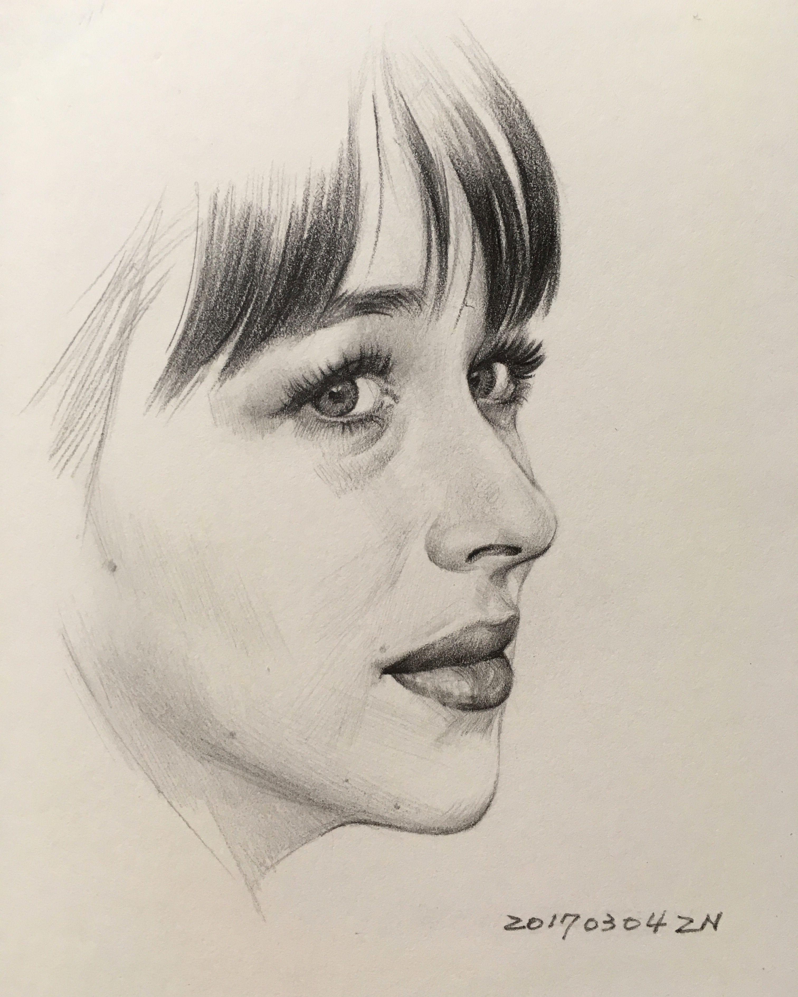 Dakota johnson pencil drawing by zahn k