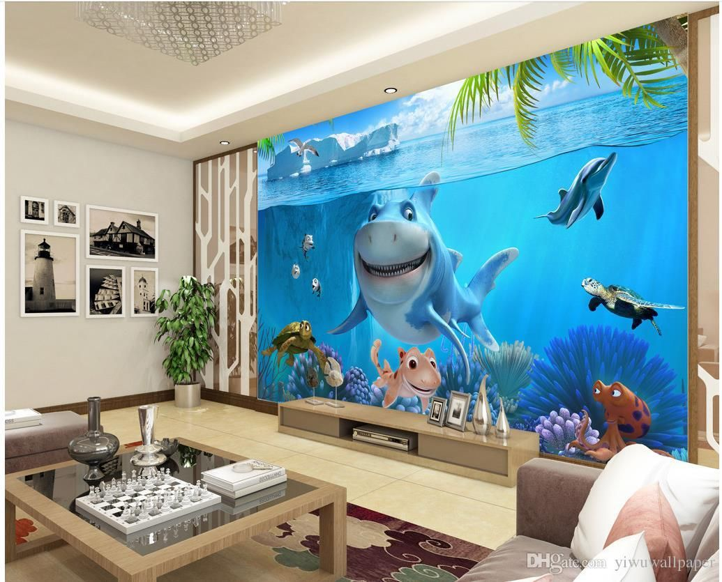 3d Underwater World Children S House Wall Mural 3d Wallpaper 3d Wall Papers For Tv Backdrop From Yiwuwallpaper 5 98 Dhgate Com Wallpaper For Home Wall House Mural Custom Photo Wallpaper 3d wallpaper kids room