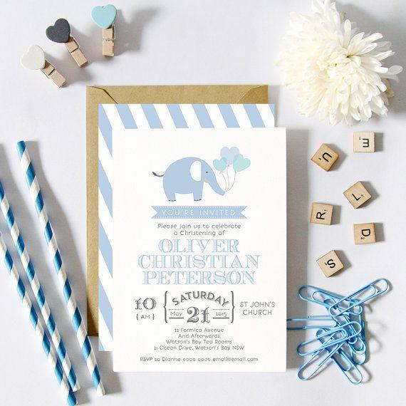 Blue Elephant Christening Baptism Birthday Invitations