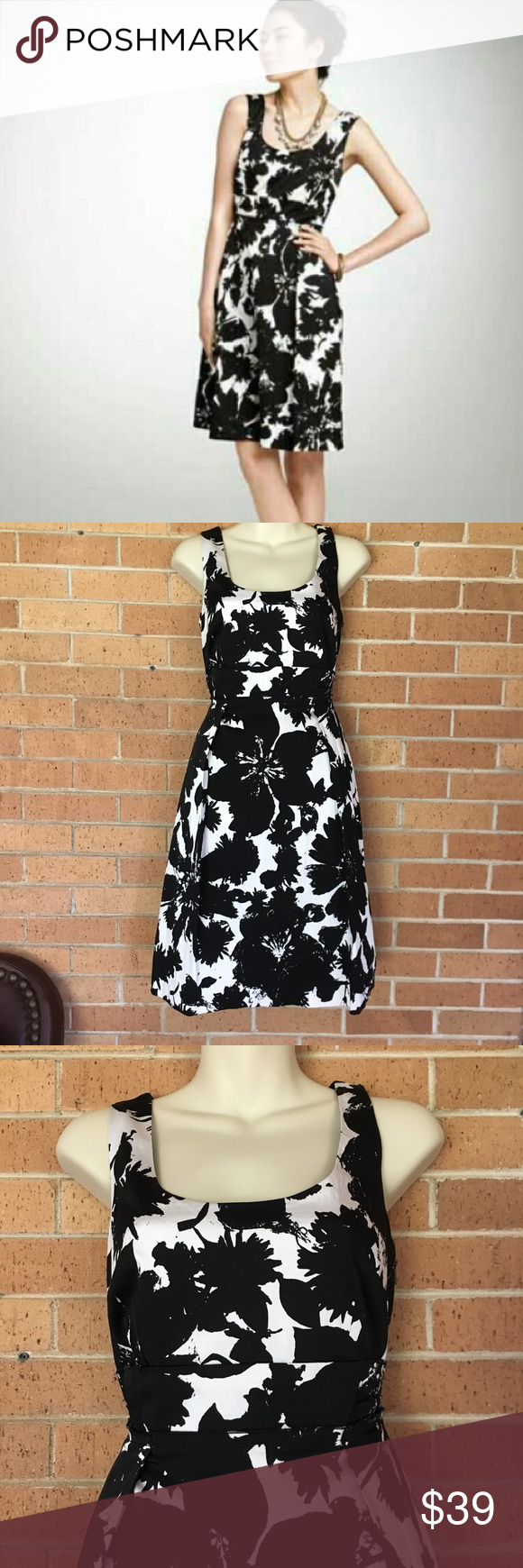 """Ann Taylor Size 4 Dress Black White Floral Ann Taylor Dress Size 4 Luxe feeling fabric  61% Rayon 36% cotton 3% Spandex Side zip  Length 38"""" Armpit to armpit 17"""" REASONABLE OFFERS WILL BE CONSIDERED Ann Taylor Dresses"""