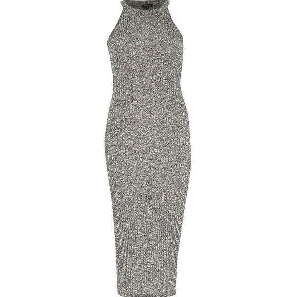 River Island Grey marl ribbed bodycon midi dress (215 ARS) ❤ liked on Polyvore