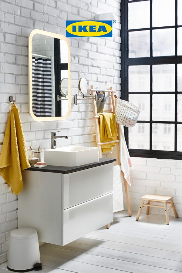 Storjorm miroir avec clairage int gr blanc salle de - Glace de salle de bain avec eclairage ...