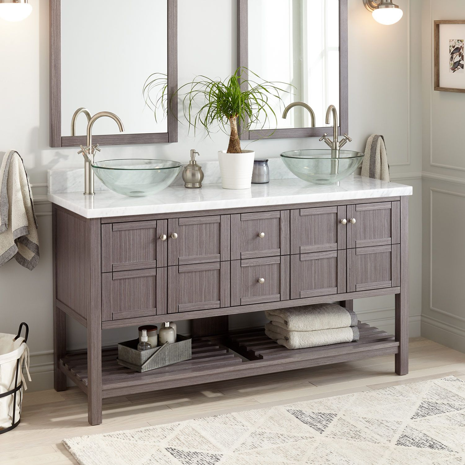 60 Everett Double Vessel Sink Double Console Vanity Ash Gray