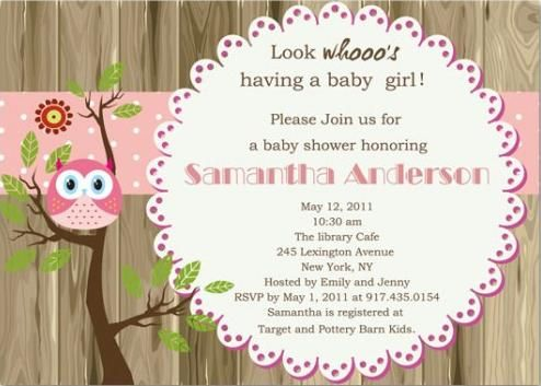 cute pink owl baby shower invitation with wood