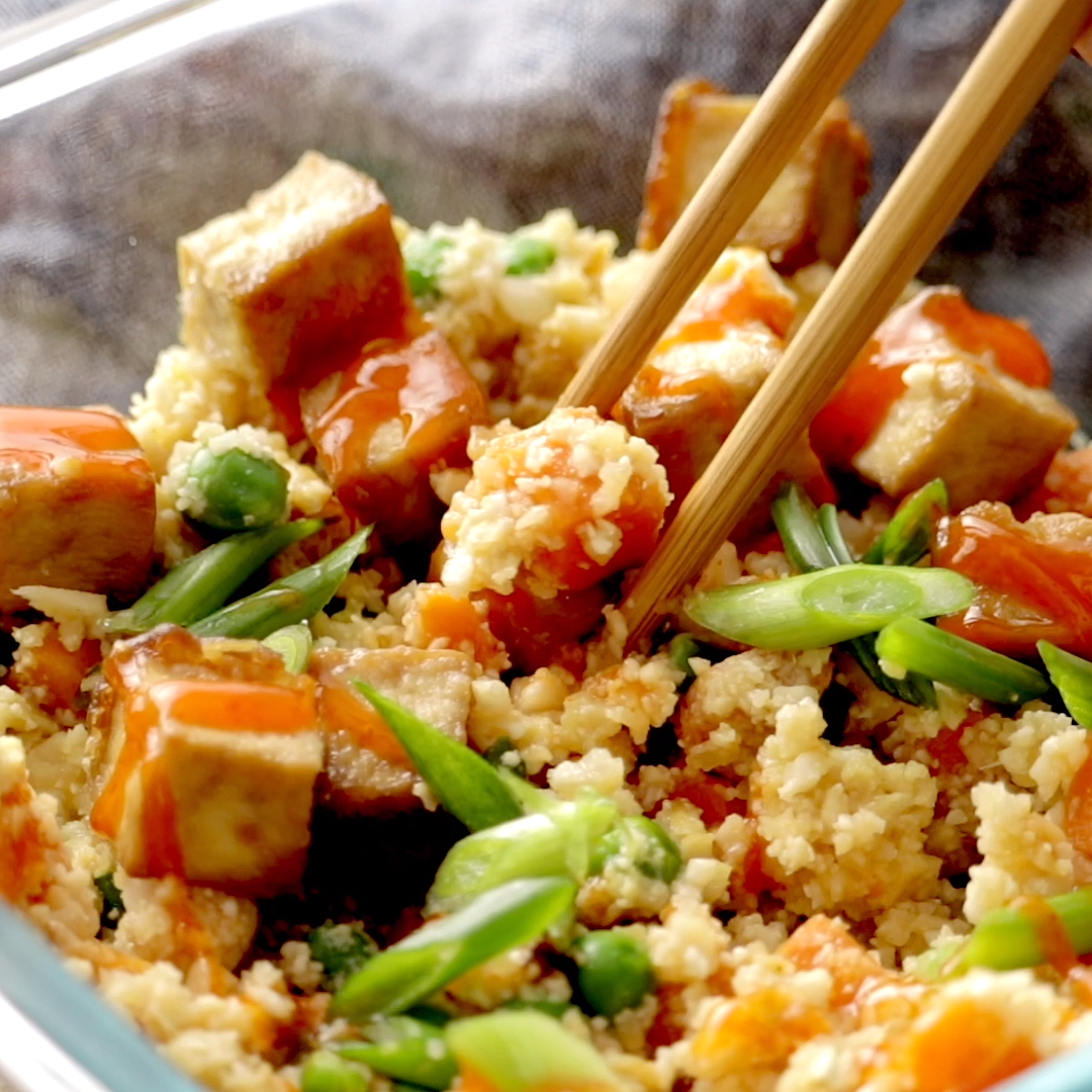 Cauliflower Fried Rice with Crispy Tofu #howtofryonions