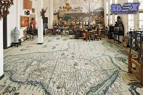 world map decor and 3d floor art for interior design Do you think to