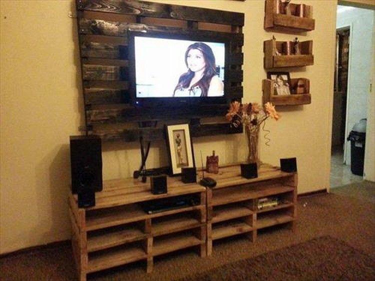 Pallet Wooden Tv Stand Jpg 750 562 Pixels Dekorasi Dinding Buatan Sendiri Dinding Dekorasi Dinding
