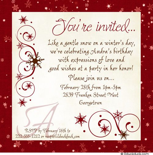 Womans birthday lunch invitation winter party chic parties snowflake party invite wording womans birthday lunch invitation winter party chic filmwisefo