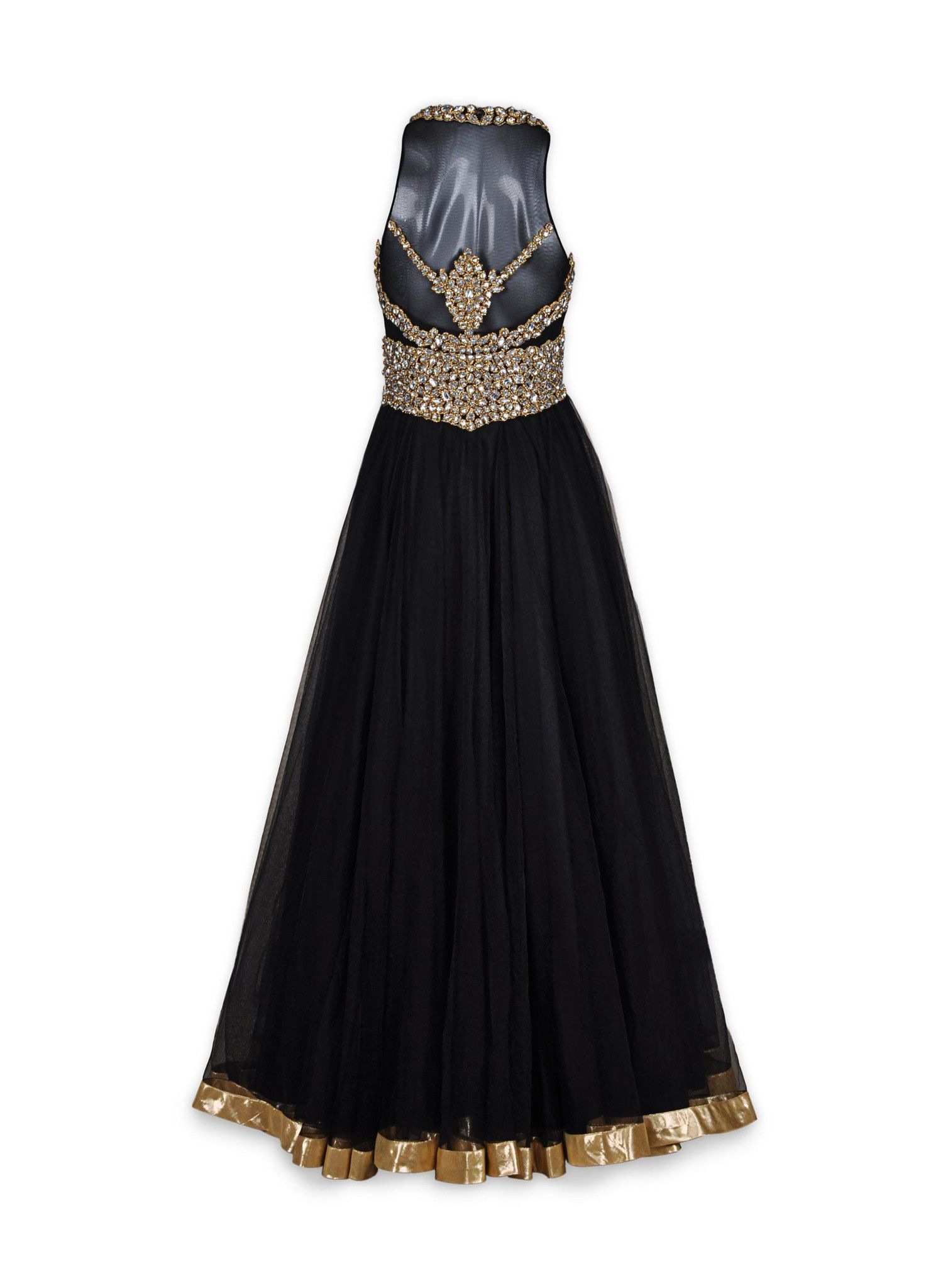 Black color indowestern net gown westerns gowns and white stone
