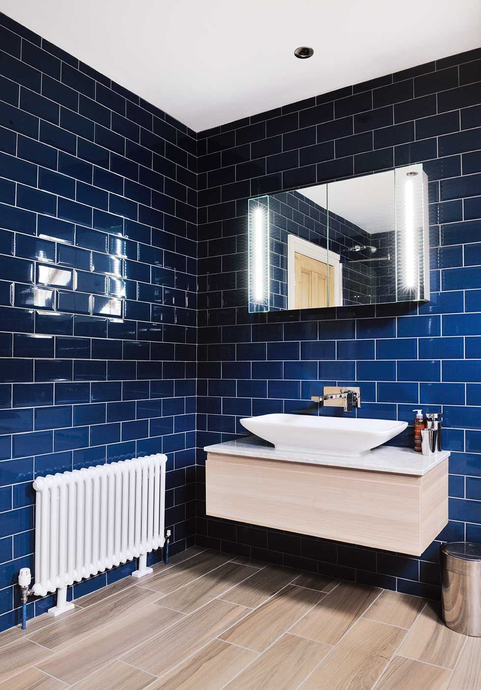 blue tiled bathroom with wooden sink | Bathroom | Pinterest | Sinks ...