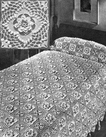 Flower Block Motif Bedspread Vintage Crochet Pattern for download ...