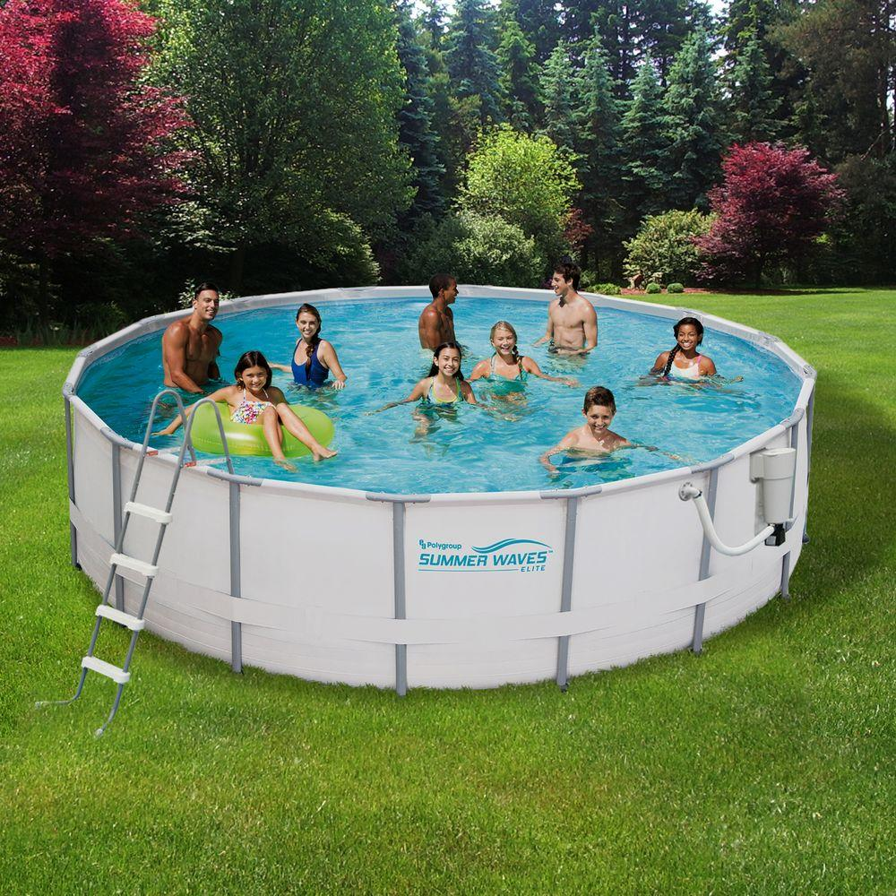 Summer Waves Elite Proseries 15 Ft Round X 48 In Deep Metal Frame Above Ground Pool Package Nb2030 The Home Depot Above Ground Swimming Pools Best Above Ground Pool Summer Waves
