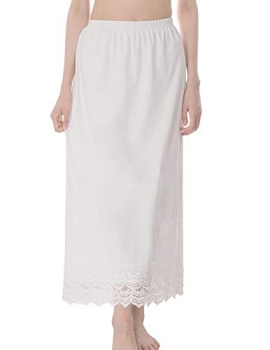 fbde4fea9f GRACE KARIN Long Underskirt Cotton Lace Skirt Extender Elastic Waist Half  Slip,#Underskirt,