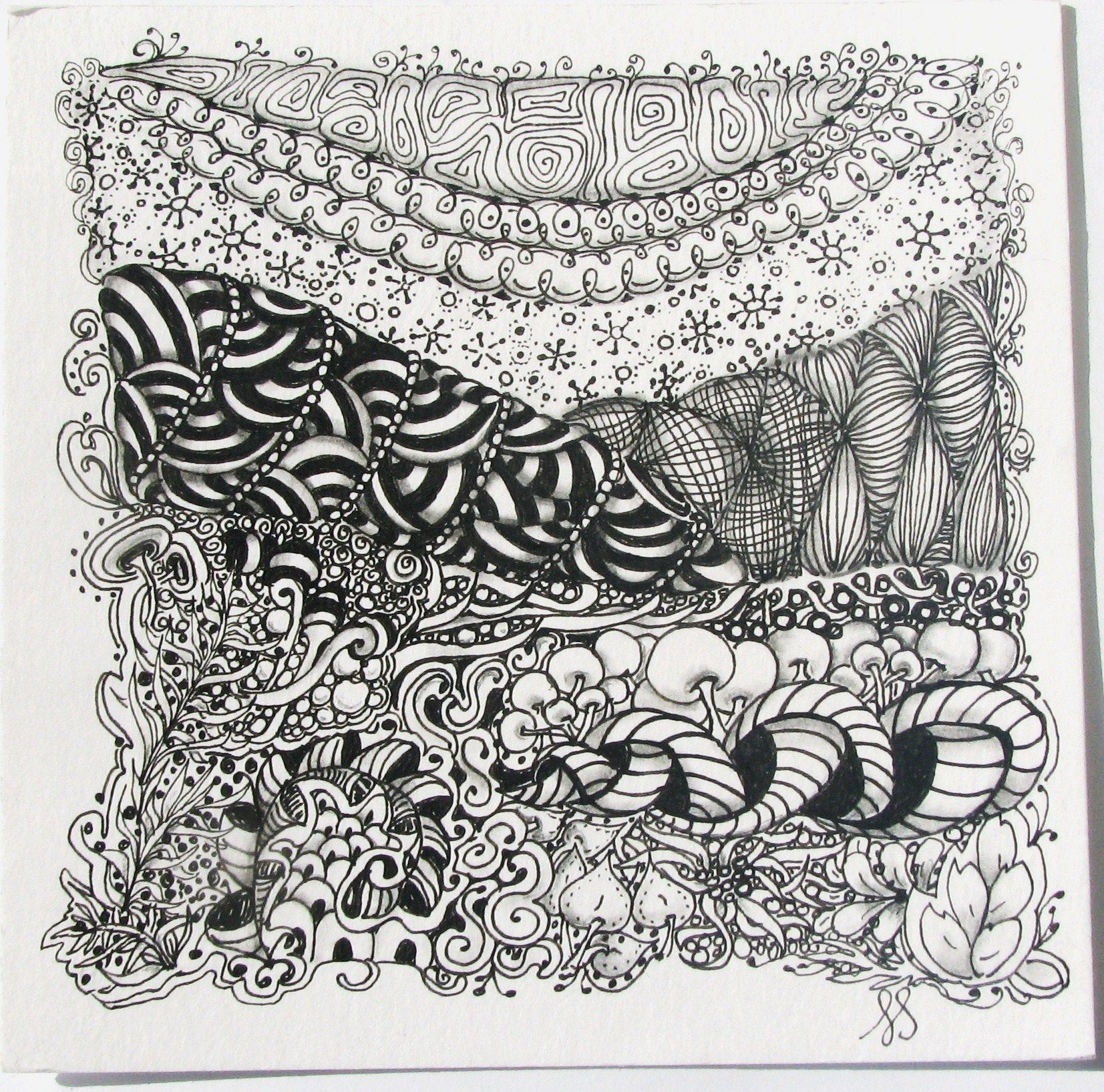 Zentangle tile laurasoriginalart doodling zentangle for Zentangle tile template