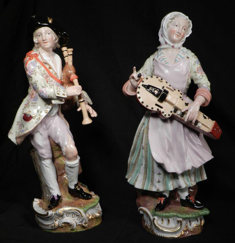Details about Pair 13quot Antique Meissen Porcelain Figure
