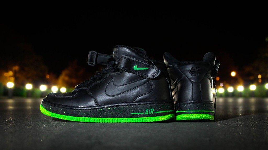 Custom Sneakers Nike Air Force 1 High - Green Print