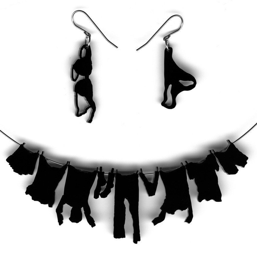 necklace and earrings set - laundry hanging on clothesline. $29,00, via Etsy.