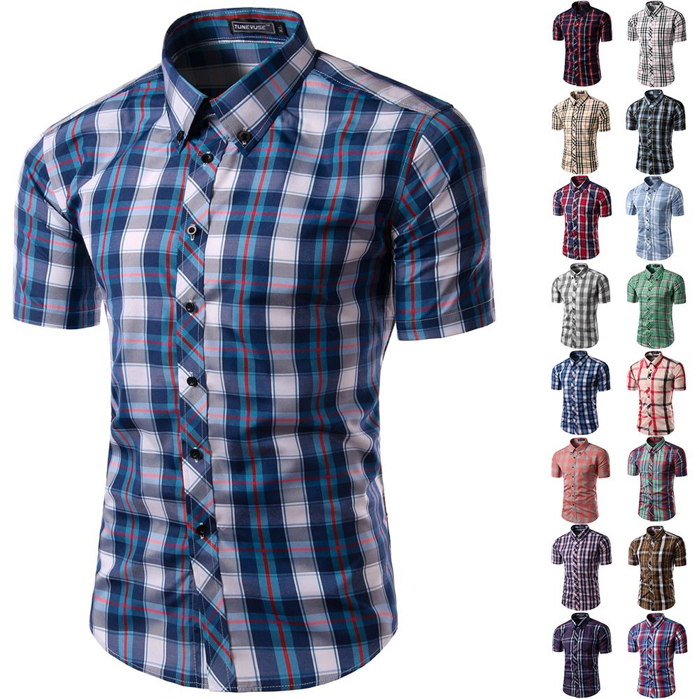 2016 new ,short Sleeve plaid shirts for men,Man turn-down collar ...