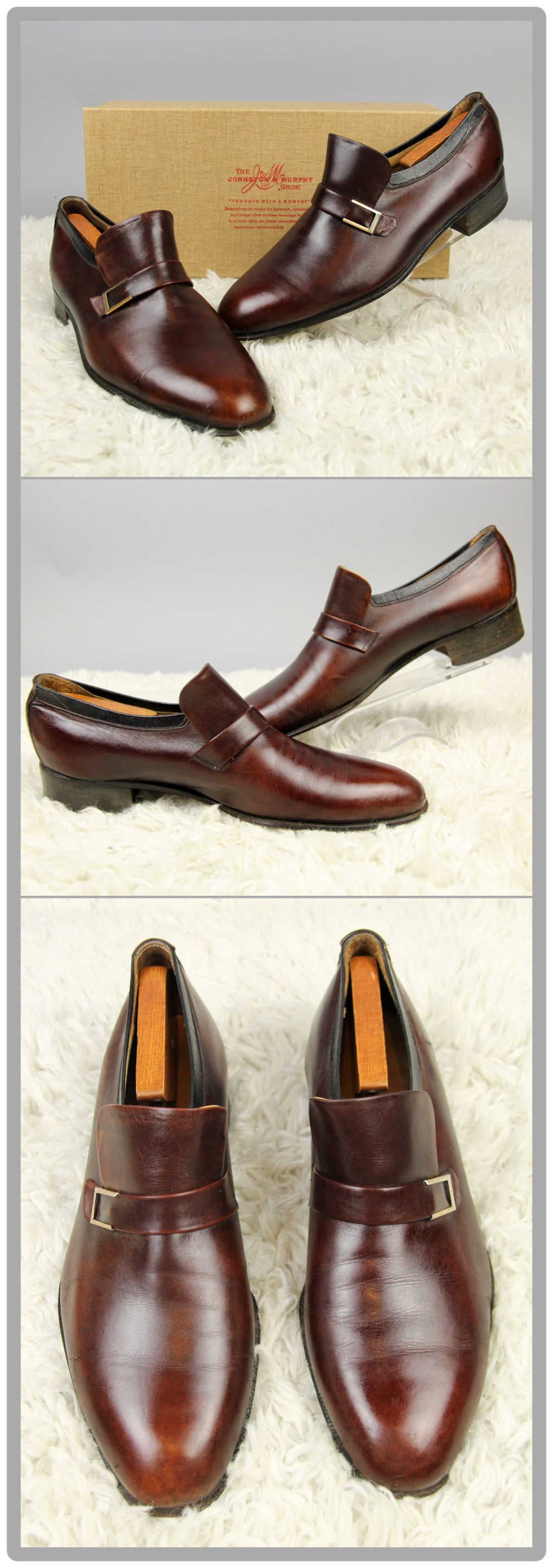 Gorgeous pair of 1970s vintage mahogany brown leather loafers, men's size 9D.  Made by The Johnson & Murphy Shoe Company