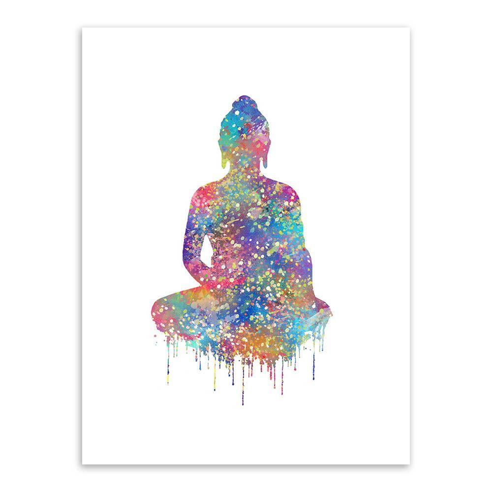 C Pias Da Arte Da Aguarela Original Retrato Buda Zen Grande Cartaz  -> Arte Parede Sala
