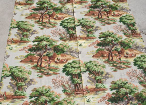 Vintage Barkcloth Fabric Toile Outdoor Scene Gray Peach