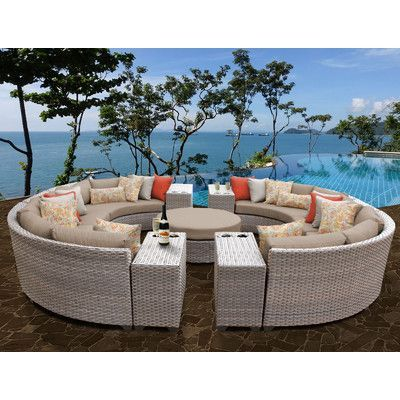 TK Classics Florence Outdoor Wicker Patio 11 Piece Deep Seating Group with Cushion Fabric: