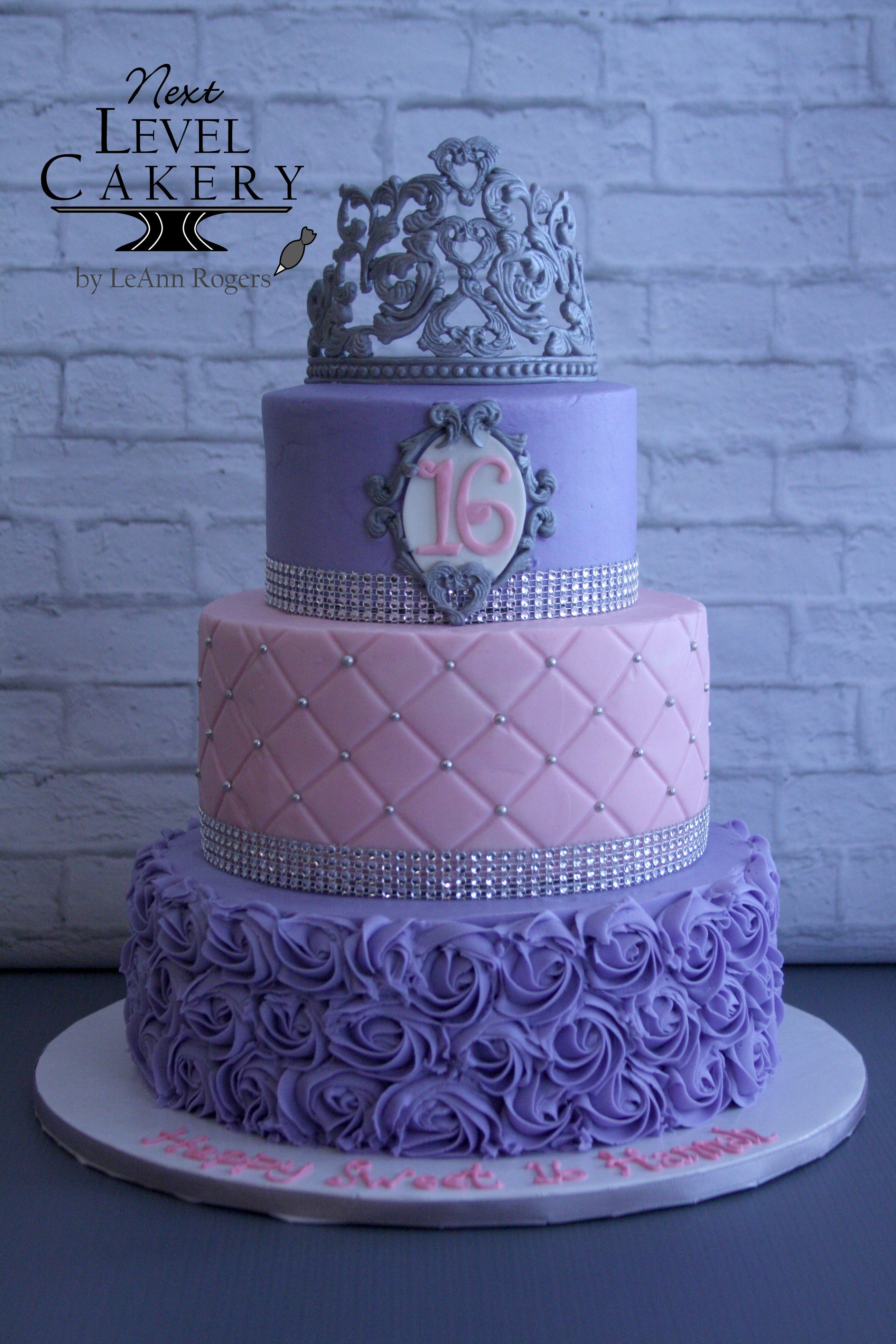 Wondrous Purple And Pink Cake Silver Royal Icing Crown Sweet 16 Birthday Personalised Birthday Cards Veneteletsinfo