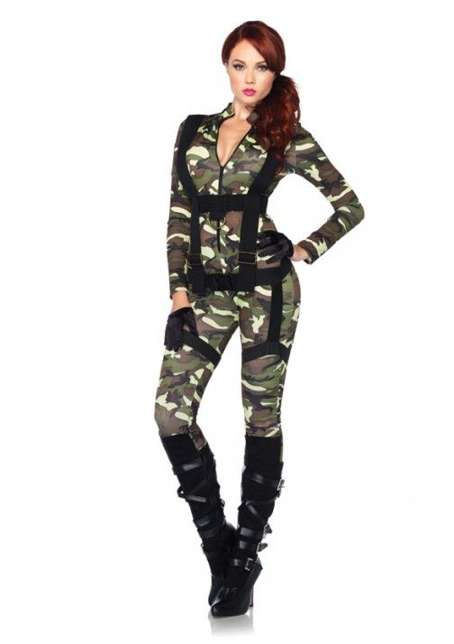 2 PC. Pretty Paratrooper, includes zipper front camo spandex jumpsuit and matching body harness.  ITEM NO : 85166