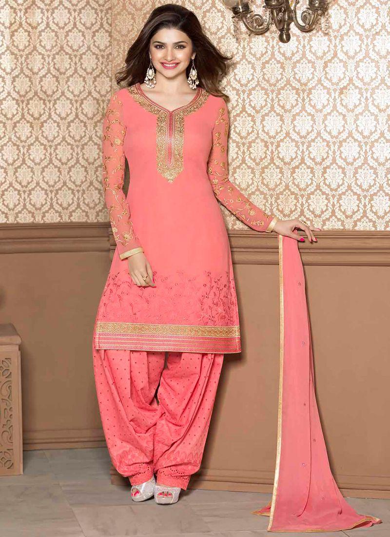 Prachi Desai Pink Faux Georgette Punjabi Suit, Product Code :9097, shop now http://www.sareesaga.com/prachi-desai-pink-faux-georgette-punjabi-suit-9097  Email :support@sareesaga.com What's App or Call : +91-9825192886