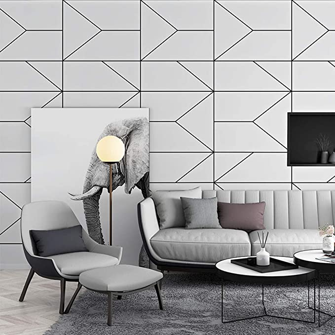 White and Black Trellis Modern Wallpaper, Removable and