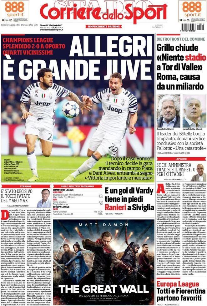Prima Pagina Corriere dello Sport 23/02/2017 Sport