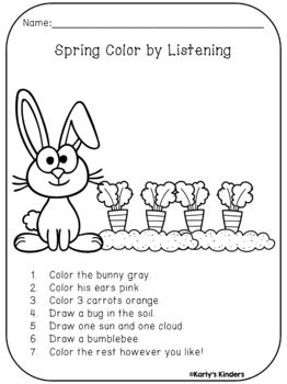 Spring Color by Listening (A Following Directions Activity
